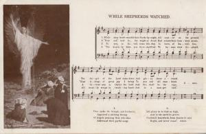 While Shepherds Watched Their Flocks By Night Sheet Music Antique RPC Postcard