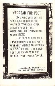 Warroad Minnesota Fur Post Sign Real Photo Antique Postcard K65727