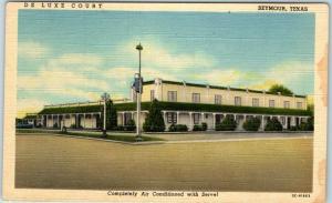 Seymour, Texas Postcard DE LUXE COURT Motel Highway 277 Roadside Linen c1950s