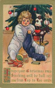 Christmas Greetings - Child Opening Stocking - a/s Marion Miller - DB