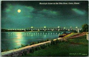 CAIRO, Illinois Postcard Moonlight Scene on the Ohio River Linen / 1945 Cancel