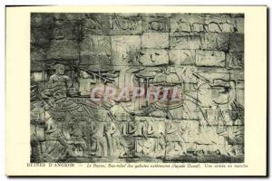 Old Postcard Ruins of Angkor Bayon Bas Relief of Foreign galleries An army tu...