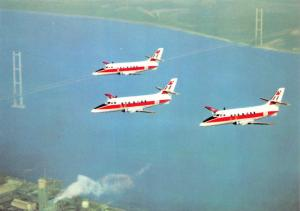 Postcard Jetstream RAF Training aircraft of RAF Finningley over Humber Bridge