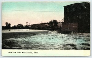 Hutchinson Minnesota~Mill & Dam~Men on Dock Overlooking Crow River~c1910