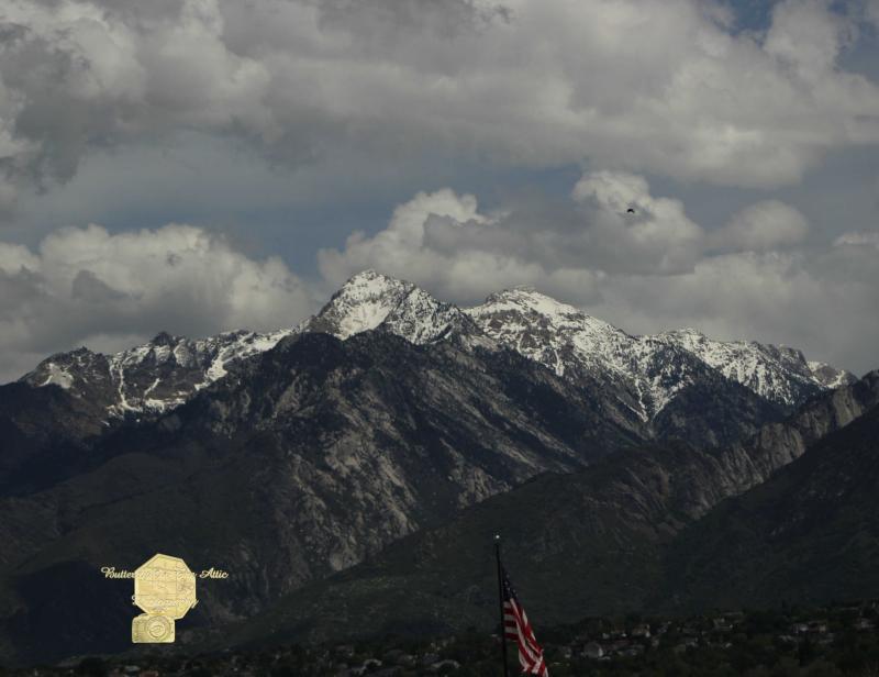 Handmade Postcard Set of 6, Utah Mountain and American Flag, Salt Lake City Utah