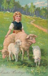 EASTER, 1900-10s; Girl walking with Sheep, PFB 6733