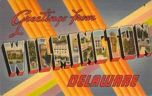 Beautiful Linen Large Letter, Wilmington, DE, Message, Old Postcard