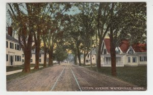 P2031 old postcard quiet view trees homes etc western ave waterville maine