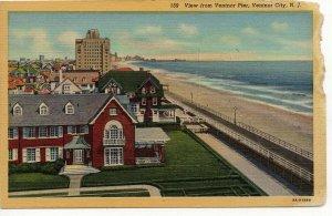 1940 Ventnor City, NJ Linen Postcard: View from Ventnor Pier- New Jersey PC4-37
