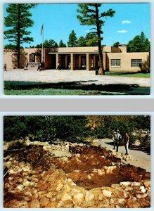 2 Postcards GRAND CANYON National Park ~ VISITOR CENTER, Tusayan Ruin c1950-60s