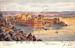 13646 Egypt  Insel Philae, The Island of Philae  Artist  signed Plyilee