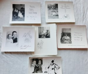 Six Photo Greeting Christmas Cards Featuring Children from the 1950s