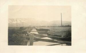 Agriculture Farming Irrigation Canal Mountain Snow Frame like c-1910  RPPC 1273
