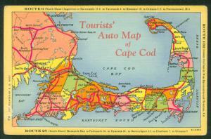 Tourists Auto Map ROUTE 28 and 6 Cape Cod Massachusetts Linen Postcard