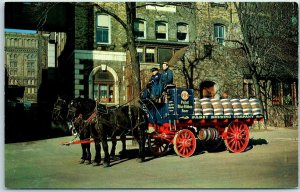 Milwaukee, Wis. Postcard PABST BREWING CO. Brewery Horse Wagon Beer Kegs 1957