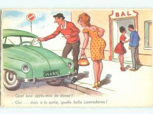 Old Foreign Postcard Risque SEXY FRENCH GIRL WITH HANDBAG PURSE BY CAR AB7190