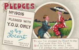 PLEDGES, 1900-10s; Poem, Man pledging his heart to lady with large hat