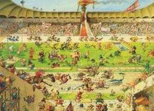 Comedia Olympica Jean Jacques Loup Olympics Jigsaw Comic Postcard