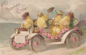 EASTER, 1900-10s; Chicks wearing hats & goggles riding in convertable automob...