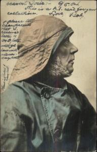 Old English Fisherman Character in Face c1910 Tinted Real Photo Postcard