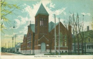 First Baptist Church in Bluffton Indiana IN Pre-Linen Postcard