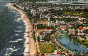 Florida Miami Beach Aerial View Showing Hotels Along Ocean Front and Lake Pan...
