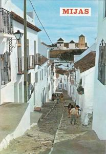 Spain Malaga Mijas Typical Street Scene