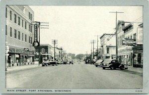 Fort Atkinson, Wisconsin Postcard MAIN STREET Downtown Scene c1940s Wayne Paper