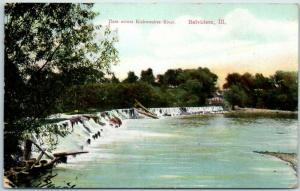 Belvidere, Illinois Postcard Dam Across Kishwaukee River w/ 1909 IL Cancel