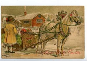 140949 SWEDEN Types HORSE by Adina SAND vintage Color PC