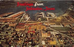 GALVESTON TEXAS GREETINGS FROM~AERIAL VIEW POSTCARD 1966 PSTMK