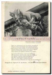 Postcard Old church gargoyle Villefranche-sur-Sa?ne The Goat And The On copulate