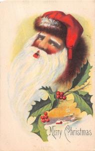 Merry Christmas Santa Claus Bust Portrait Holly Antique Postcard K10700