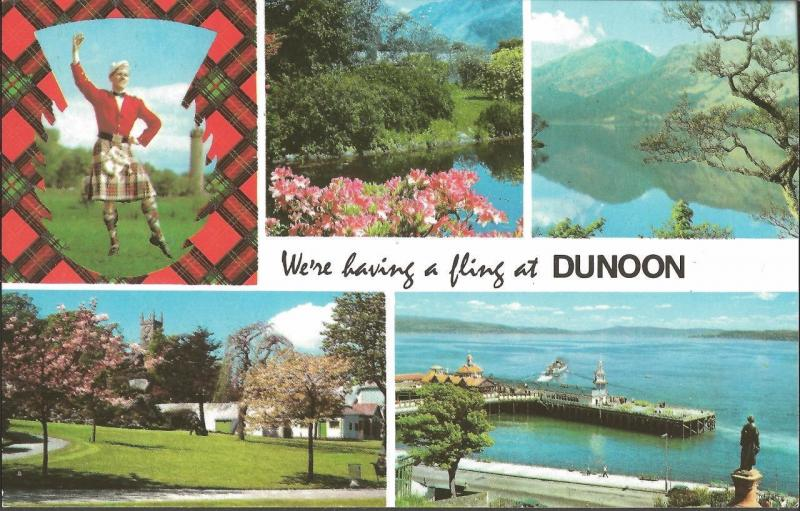 Postcard Were having a fling at DUNOON Argyll and Bute Scotland Multiview