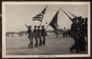 Mint Usa Army Real Picture Postcard RPPC Passing Of The Colors