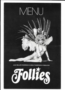Vintage Restaurant Menu FOLLIES The Dune Hotel Las Vegas 1981 Julie Miller