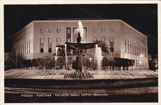 Italy Foggia Fontana Palazzo Degli Uffici Nocturno Photo