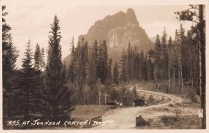 At Johnson Canyon, Banff, Alberta, Canada, Early Real Photo Postcard, Unused