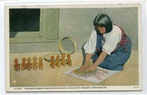 Tesuque Woman Making Rain Gods Pueblo Native American Indian New Mexico postcard