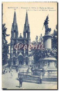 Old Postcard Marseille Monument Mobile and Church of Reforms