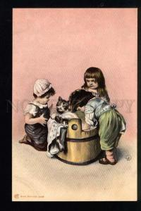 040923 Children washing KITTENS. By EK vintage PC