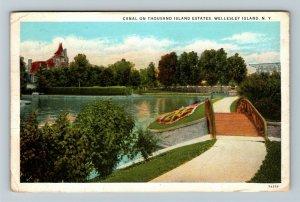 Wellesley Island NY, Canal On Thousand Island, Vintage New York c1932 Postcard