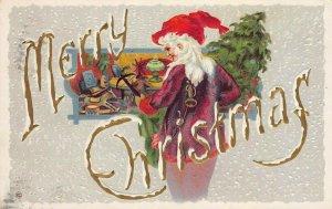 LP05 Santa Claus Christmas Holiday postcard Shop Purple Red Suit Tree