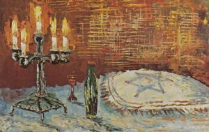 ARTIST Morris Katz, Jewish Theme Postcard; Five Candles, 1972
