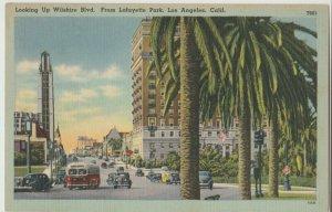 Lafayette Park-Wilshire Blvd. Los Angeles CA California Postcard bus