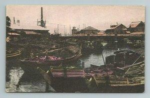 Boats at Bridge Yokohama Japan Japanese Postcard