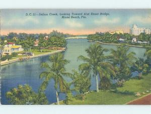 Unused Linen BRIDGE SCENE Miami Beach Florida FL H8076