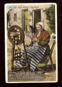 020406 Irish Old Lady w/ Spindle. Vintage photo PC