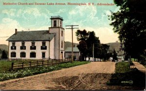 New York Adirondacks Bloomingdale Methodist Church and Saranac Lake Avenue 1910