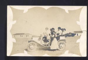 RPPC TIAJUANA MEXICO ANTIQUE CAR AUTOMOBILE LYFORD TEXAS REAL PHOTO POSTCARD